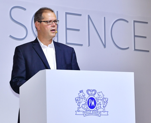 Manuel Peitsch, Philip Morris International's chief scientific officer, speaks in a news conference at a Seoul hotel on Aug. 30, 2018, in this photo provided by Philip Morris Korea. (Yonhap)