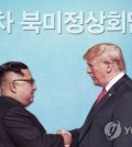 This image shows North Korean leader Kim Jong-un (L) and U.S. President Donald Trump at their summit in Singapore on June 12, 2018. (Yonhap)