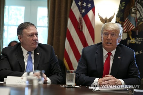 This EPA file photo shows U.S. President Donald Trump (R) and U.S. Secretary of State Mike Pompeo. (Yonhap)