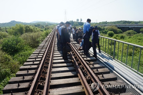 South and North Korean officials conduct a joint survey of cross-border railways in this undated file photo. (Yonhap)