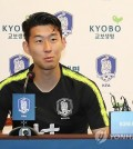 South Korean football player Son Heung-min speaks during a press conference at the National Football Center in Paju, Gyeonggi Province, on Sept. 5, 2018. (Yonhap)