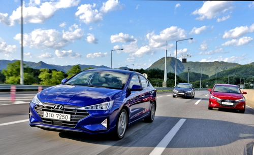 This photo provided by Hyundai Motor shows the facelifted Avante compact being driven at a media test-drive event near Seoul. (Yonhap)