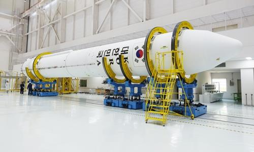 This photo provided by the Ministry of Science and ICT shows South Korea's homegrown single-stage rocket carrying a locally made 75-ton engine that will be used on the future Korea Space Launch Vehicle-2 (KSLV-2).