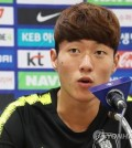 South Korean football striker Hwang Ui-jo speaks at a press conference at Suwon World Cup Stadium in Suwon, south of Seoul, on Sept. 10, 2018, one day ahead of a friendly football match between South Korea and Chile. (Yonhap)