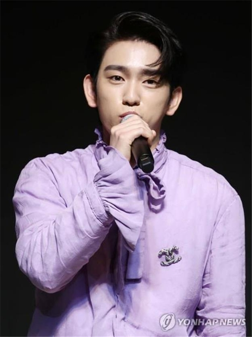 "GOT7 member Jinyoung speaks during a press conference announcing the release of their new album ""Present:YOU"" on Sept. 17, 2018. (Yonhap)"