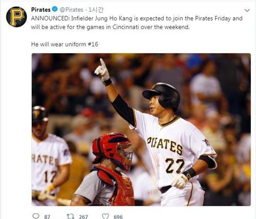 This photo captured from the Pittsburgh Pirates' official Twitter page on Sept. 28, 2018, shows the club's announcement of the return of South Korean infielder Kang Jung-ho. The 31-year-old last played in the majors in October 2016, as he went through legal trouble in Seoul. (Yonhap)