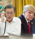 This compilation image shows South Korean President Moon Jae-in (L) and U.S. President Donald Trump. (Yonhap)