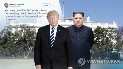 This graphic image shows U.S. President Donald Trump (L) and North Korean leader Kim Jong-un. (Yonhap)