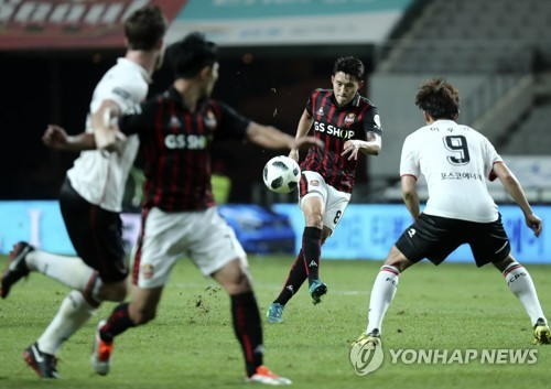 This file photo, taken Aug. 22, 2018, shows a K League 1 match between FC Seoul and Pohang Steelers at Seoul World Cup Stadium in Seoul.
