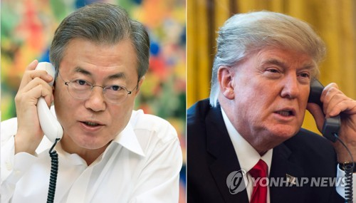 This compilation image shows South Korean President Moon Jae-in (L), in a photo provided by Cheong Wa Dae, and a file photo of U.S. President Donald Trump. (Yonhap)