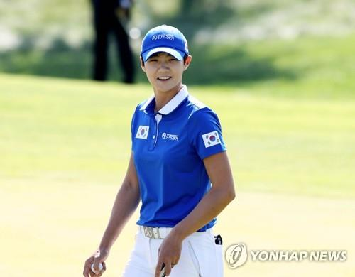 Park Sung-hyun of South Korea smiles during her practice round for the UL International Crown at Jack Nicklaus Golf Club Korea in Incheon on Oct. 2, 2018, in this photo provided by the tournament organizers. (Yonhap)