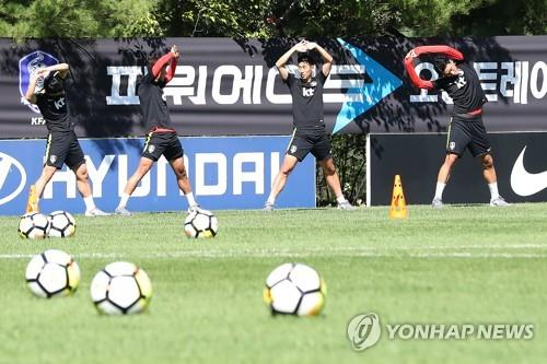 This file photo, taken Sept. 8, 2018, shows South Korea's national football team players training on a football field at the National Football Center in Paju, north of Seoul. (Yonhap)