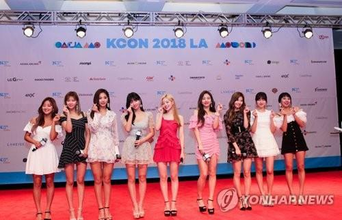 Members of girl group TWICE pose at the annual K-pop festival KCON at the LA Convention Center in Los Angeles on Aug. 11, 2018, in this photo courtesy of CJ ENM. (Yonhap)