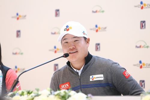 Im Sung-jae of South Korea speaks at a press conference ahead of the PGA Tour's CJ Cup @ Nine Bridges at the Club at Nine Bridges in Seogwipo, Jeju Island, on Oct. 16, 2018, in this photo courtesy of JNA Golf. (Yonhap)