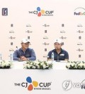 In this photo provided by JNA Golf, South Korean players on the PGA Tour speak at a press conference before the PGA Tour's CJ Cup @ Nine Bridges at the Club at Nine Bridges in Seogwipo on Jeju Island, South Korea, on Oct. 17, 2018. From left: Kim Meen-whee, Kim Si-woo, Kang Sung-hoon and Lee Kyoung-hoon. (Yonhap)