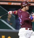 Park Byung-ho of the Nexen Heroes blasts a two-run home run against the Hanwha Eagles in the top of the fourth inning during Game 1 of the Korea Baseball Organization postseason's first round series at Hanwha Life Eagles Park in Daejeon, 160 kilometers south of Seoul, on Oct. 19, 2018. (Yonhap)