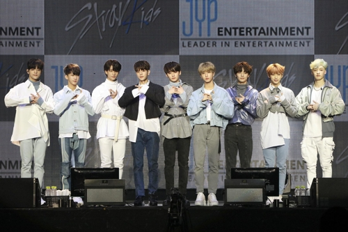 "This photo provided by JYP Entertainment shows the nine Stray Kids members during a showcase of their new album titled ""I am You"" on Oct. 21, 2018. (Yonhap)"