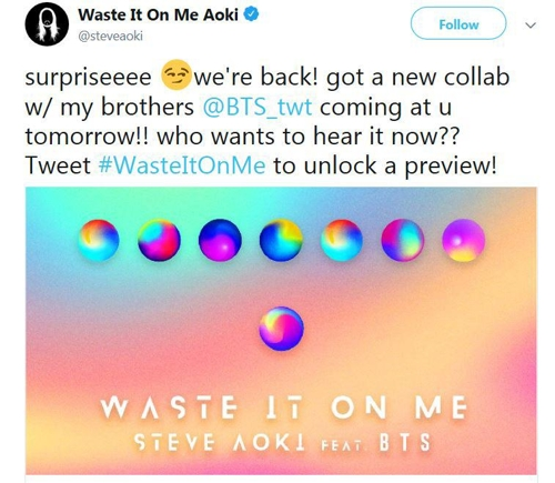 This image captured from Steve Aoki's Twitter account shows a publicity image for his new song featuring BTS. (Yonhap)