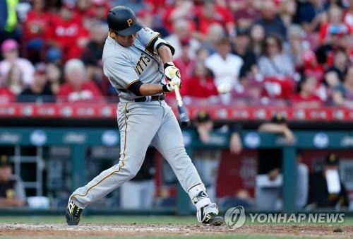 In this Getty Images file photo from Sept. 28, 2018, Kang Jung-ho of the Pittsburgh Pirates hits a single against the Cincinnati Reds in the top of the sixth inning of a Major League Baseball regular season game at the Great American Ball Park in Cincinnati. (Yonhap)