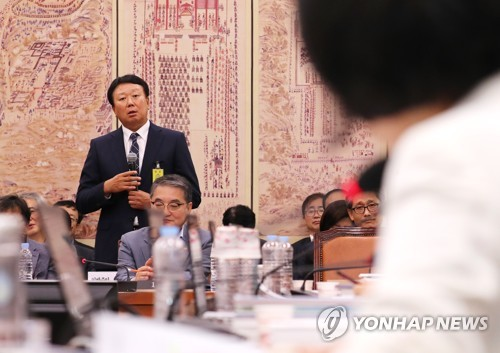 South Korea's national baseball team manager, Sun Dong-yol, speaks during a parliamentary audit for the sports ministry in Seoul on Oct. 10, 2018. (Yonhap)