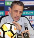 South Korea national football team head coach Paulo Bento speaks at a press conference at Cheonan Stadium in Cheonan, South Chungcheong Provice, on Oct. 15, 2018, one day ahead of his team's friendly match against Panama. (Yonhap)