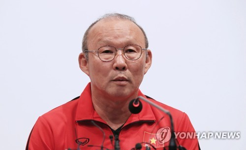 South Korean football coach Park Hang-seo, who is leading the Vietnamese national football team, speaks during a press conference at the National Football Center in Paju, north of Seoul, on Oct. 18, 2018. (Yonhap)