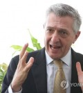 Filippo Grandi, U.N. high commissioner for refugees, speaks in an interview with Yonhap News Agency in Seoul on Oct. 24, 2018. (Yonhap)