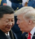 This AP photo shows Chinese President Xi Jinping (L) and U.S. President Donald Trump meeting in Beijing in November 2017. (Yonhap)