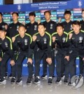 This file photo taken Nov. 12, 2018, shows South Korea national football team players and coaches posing for a group photo at Incheon International Airport in Incheon. (Yonhap)