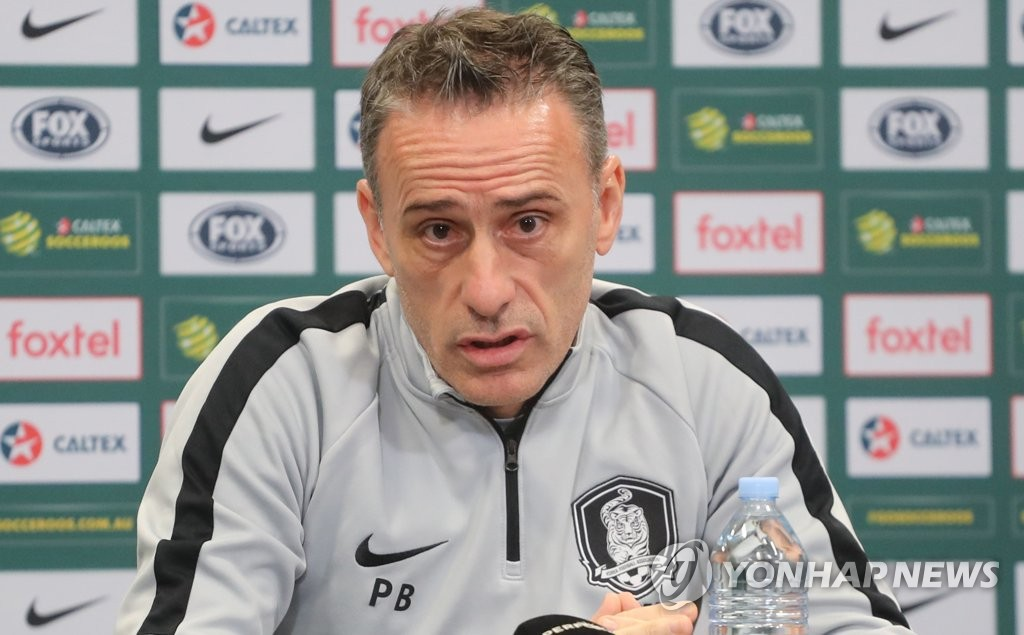 "BRISBANE, Australia, Nov. 16 (Yonhap) -- South Korea national football coach Paulo Bento said Friday that his side's style of play will not change when they face Australia in a friendly match. South Korea, 53rd in the latest FIFA rankings, will face 42nd-ranked Australia at Suncorp Stadium in Brisbane, Australia, on Saturday. ""Although we have some new faces, we will not have big changes in our style of play,"" Bento said at a pre-match press conference. ""Our goal is to collect a win with the players showing improved performance."" South Korea national football team head coach Paulo Bento speaks at a press conference at Suncorp Stadium in Brisbane, Australia, on Nov. 16, 2018, one day ahead of his team's friendly match against Australia. (Yonhap)"
