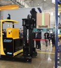 This photo shows Hyundai Construction Equipment Co.'s first autonomous forklift. (Yonhap)
