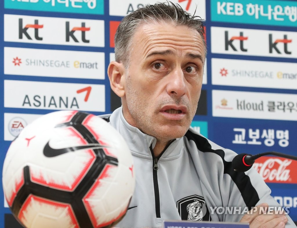 "HWASEONG, South Korea, Oct. 9 (Yonhap) -- South Korea men's national football team head coach Paulo Bento said Wednesday his players should not let their guards down against Sri Lanka even if the opponents are considered underdogs. South Korea, 37th in the latest FIFA rankings, will take on 202nd-ranked Sri Lanka at Hwaseong Sports Complex Main Stadium in Hwaseong, south of Seoul in Gyeonggi Province, on Thursday. It will be South Korea's second match in Group H in the second round of the Asian qualifying for the 2022 FIFA World Cup. South Korea defeated Turkmenistan 2-0 on Sept. 10. Although many predict South Korea will win big against Sri Lanka, Bento said he is not buying into the hype. ""Whenever we meet weaker opponents, people predict that we'll collect a win with many goals, but in modern football, this is not always the case,"" Bento said at a press conference. ""Whomever we face, we have to respect our opponents. Our goal is to maintain our playing style and get a win."" Since Sri Lanka are expected to sit back, Bento said the task for the Taeguk Warriors is to create space and penetrate the defense. In recent weeks, local football fans have also been showing a big interest in how Bento will form his team's attacking corps after Red Bull Salzburg attacker Hwang Hee-chan and Girondins Bordeaux forward Hwang Ui-jo scoring goals for their respective European clubs with South Korean football ace Son Heung-min and towering striker Kim Shin-wook also on the squad. ""Son Heung-min will play tomorrow, but I haven't decided his playing time,"" the Portuguese coach said. ""I've got some ideas of using Kim Shin-wook, but still I'm thinking about many other options."" South Korea men's national football team head coach Paulo Bento speaks at a press conference at Hwaseong Sports Complex Main Stadium in Hwaseong, south of Seoul, on Oct. 9, 2019, one day ahead of South Korea's match against Sri Lanka in the second round of the Asian qualifying for the 2022 FIFA World Cup. (Yonhap)"