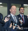 U.S. Assistant Secretary of State David Stilwell speaks to reporters upon arriving at Incheon International Airport, west of Seoul, on Nov. 5, 2019. (Yonhap)